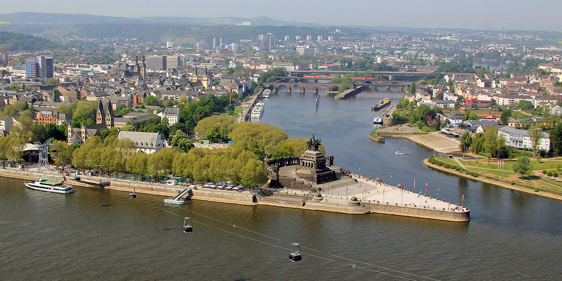Koblenz sits at the confluence of the Rhine and Moselle rivers